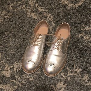 Charles David silver loafers